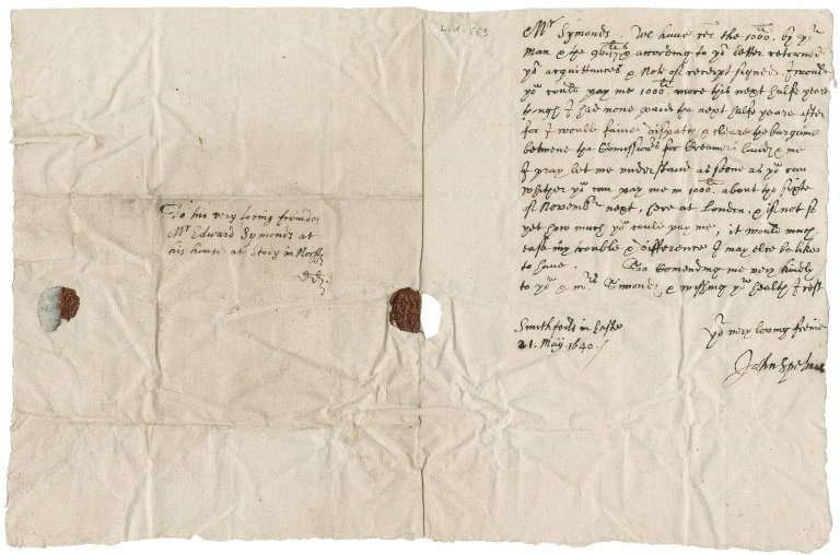 Letter from Sir John Spelman to Edward Symonds