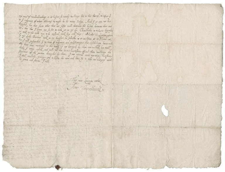 Letter from Lady Anne (Bacon) Townshend to Roger Townshend, 1st bart.