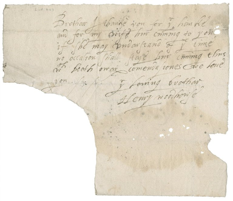 Letter from Henry Woodhouse to Nathaniel Bacon