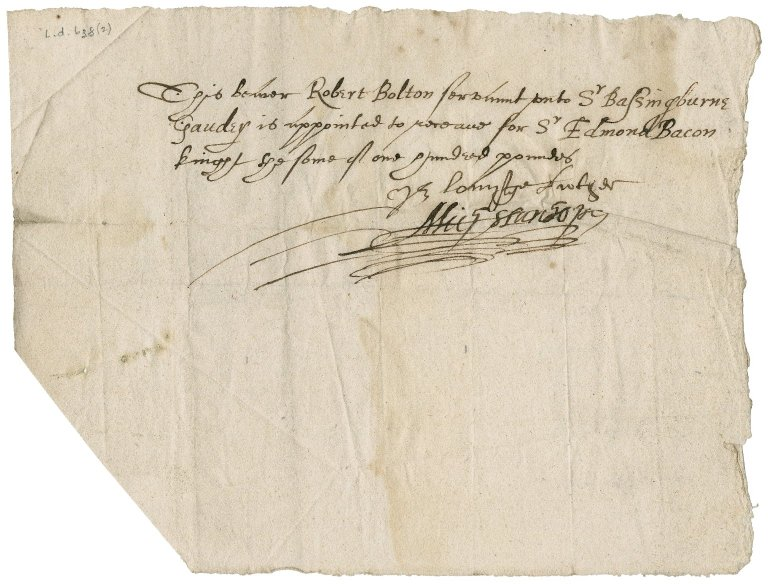 Power of attorney granted from Miles Stanhope to Robert Bolton, servant of Sir Bassingborne Gawdy