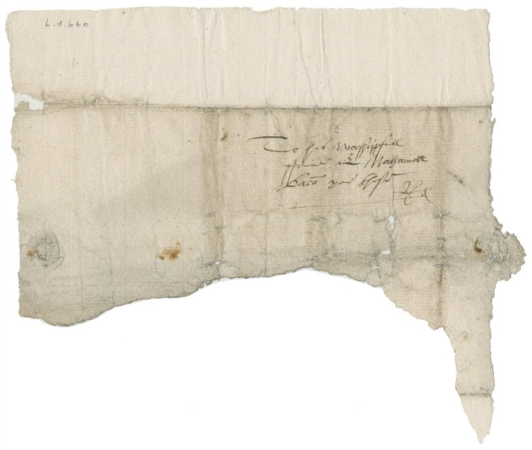 Address leaf to Nathaniel Bacon