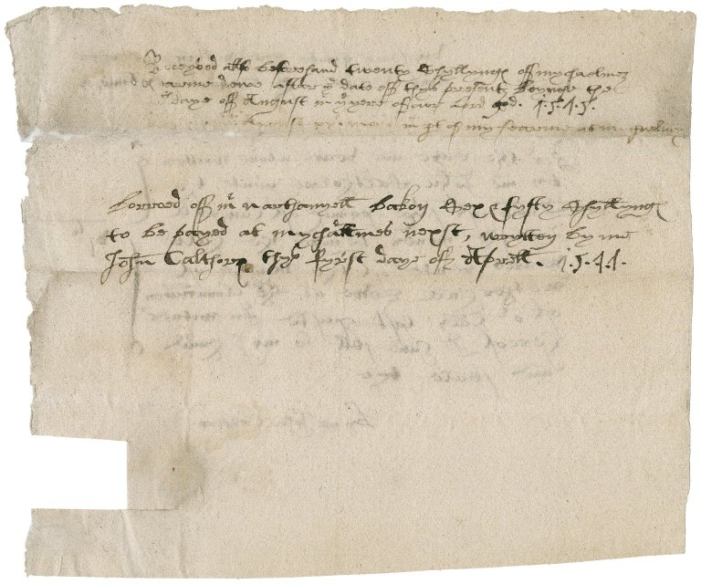 Rent receipt from John Calthorpe to Nathaniel Bacon