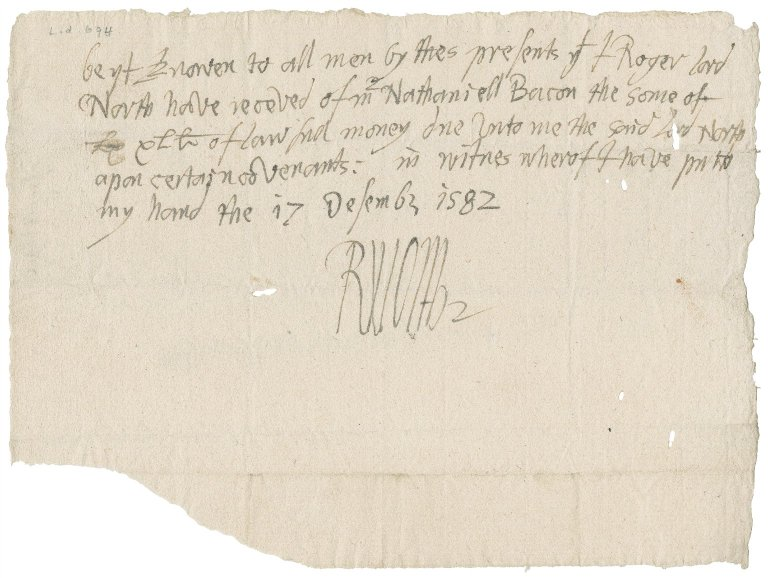 Acquittance from Roger, Lord North, Steward of the Duchy of Lancaster to Nathaniel Bacon