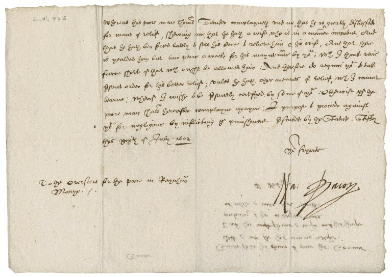 Nathaniel Bacon to overseers for the poor in Raynham St. Mary, [Norfolk]