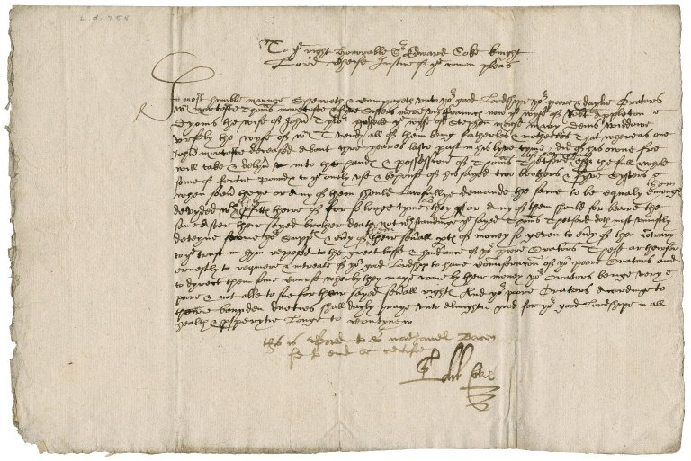 Petition touching Thomas Thetford from Moretoft heirs to Sir Edward Coke