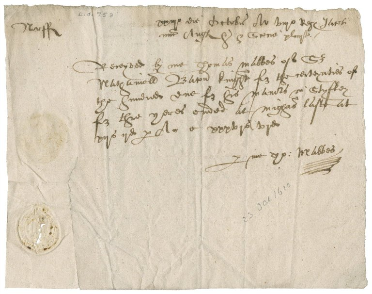 Receipt from Thomas Mabbes for the certainties of the hundred due for Nathaniel Bacon's manors in Stiffkey
