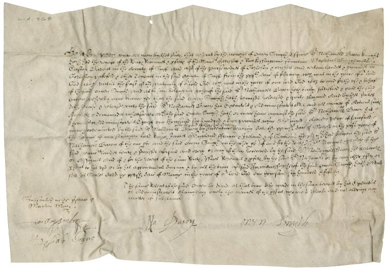 Acquittance from Owen Smith to Nathaniel Bacon