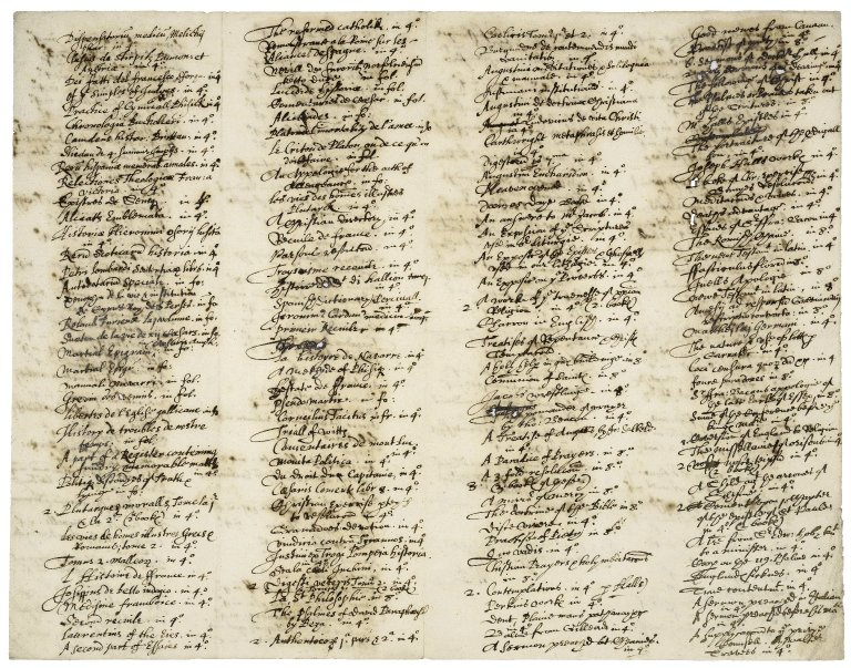 Inventory of books for Nathaniel Bacon