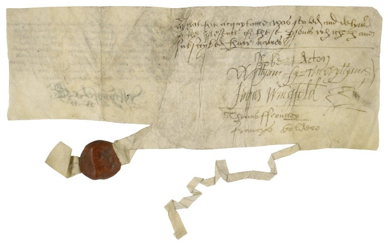 Acquittance from Sir Richard Wingfield to Sir Nicholas Bacon, lord keeper