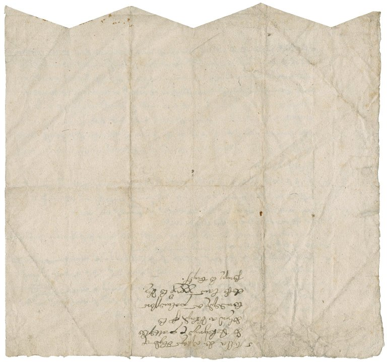 Indented bill of evidences concerning the exchange of property between Sir Roger Townshend and Gonville Hall, Cambridge