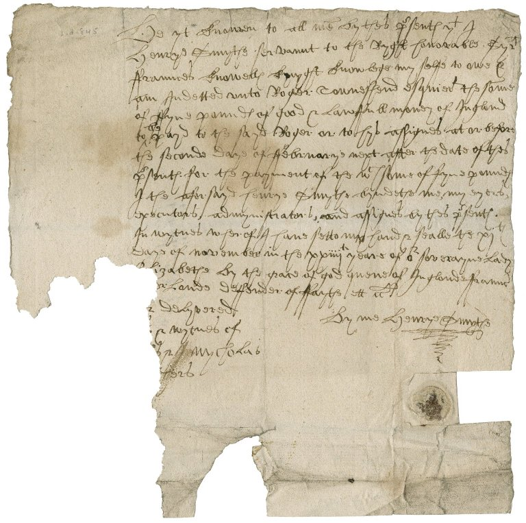Acknowledgement from Henry Smith to Sir Roger Townshend (1543?-1590)