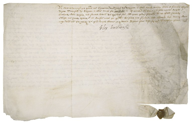 Bond from Sir Henry Woodhouse to Sir Roger Townshend (1543?-1590) : cancelled