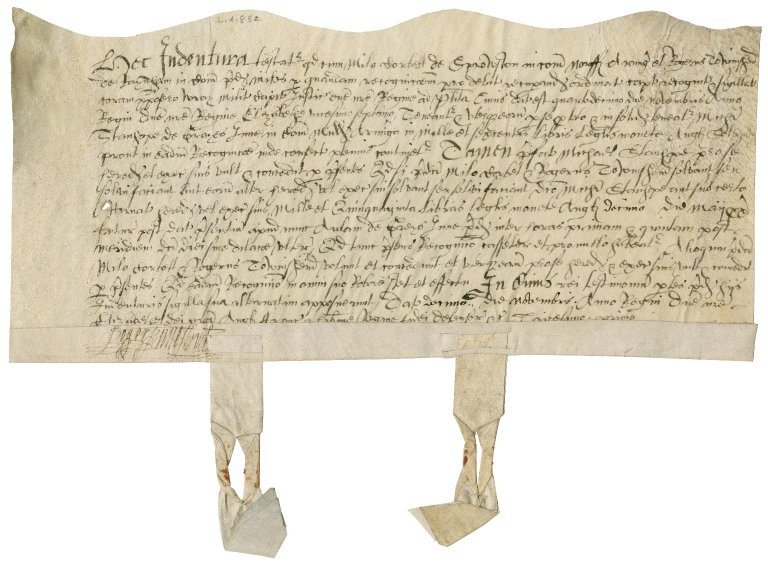 Indenture between Sir Roger Townshend (1543?-1590) and Sir Michael Stanhope