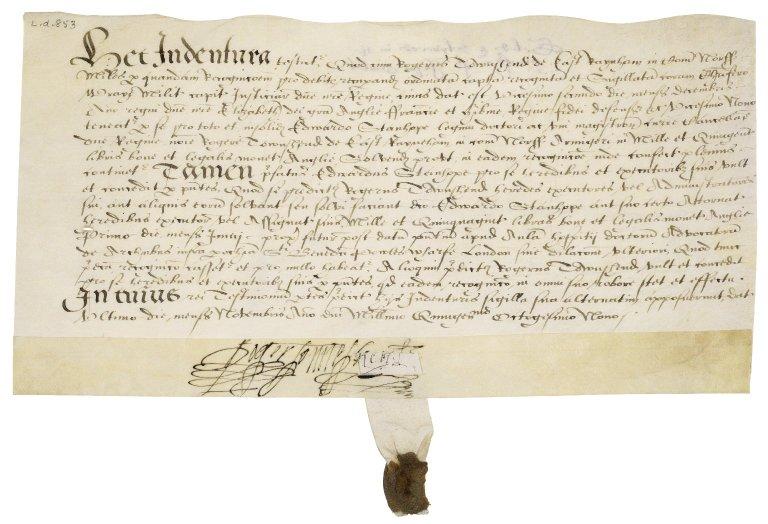 Indenture between Sir Roger Townshend (1543?-1590) and Sir Edward Stanhope