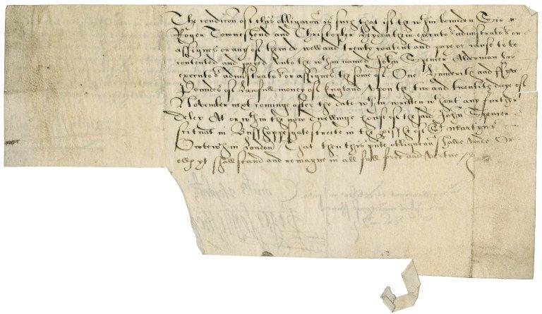 Bond from Sir Roger Townshend (1543?-1590) to John Spencer