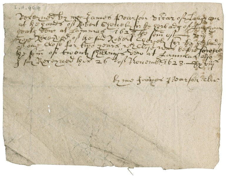 Receipt from James Pearson, vicar of Langham to Robert Chevely
