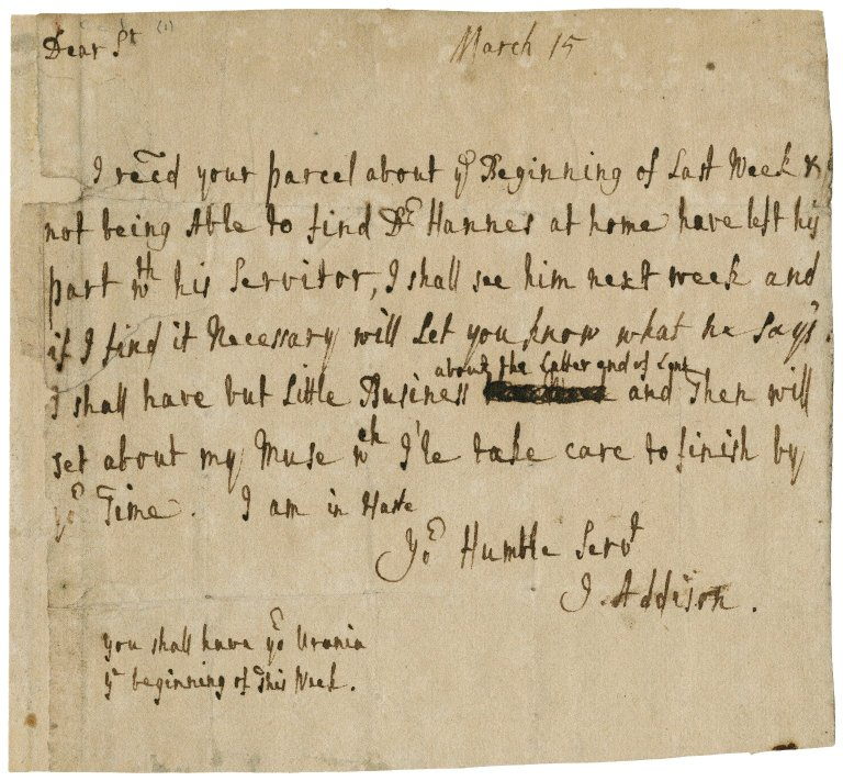 Letter from Joseph Addison to Jacob Tonson : autograph manuscript signed