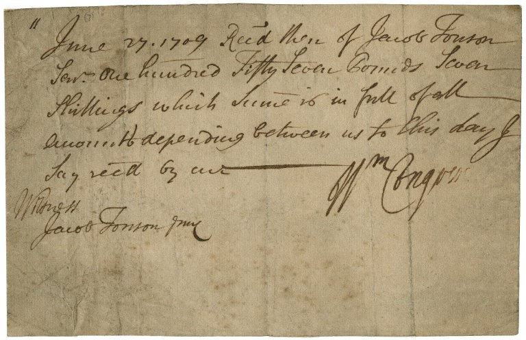 Receipt from William Congreve to Jacob Tonson I : autograph manuscript signed