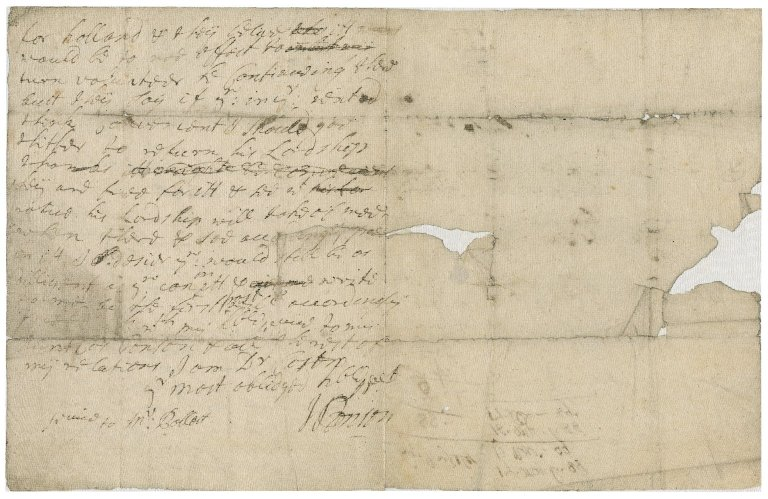 Letter from J.? Tonson, Bristol, to Jacob Tonson I, London : autograph manuscript signed