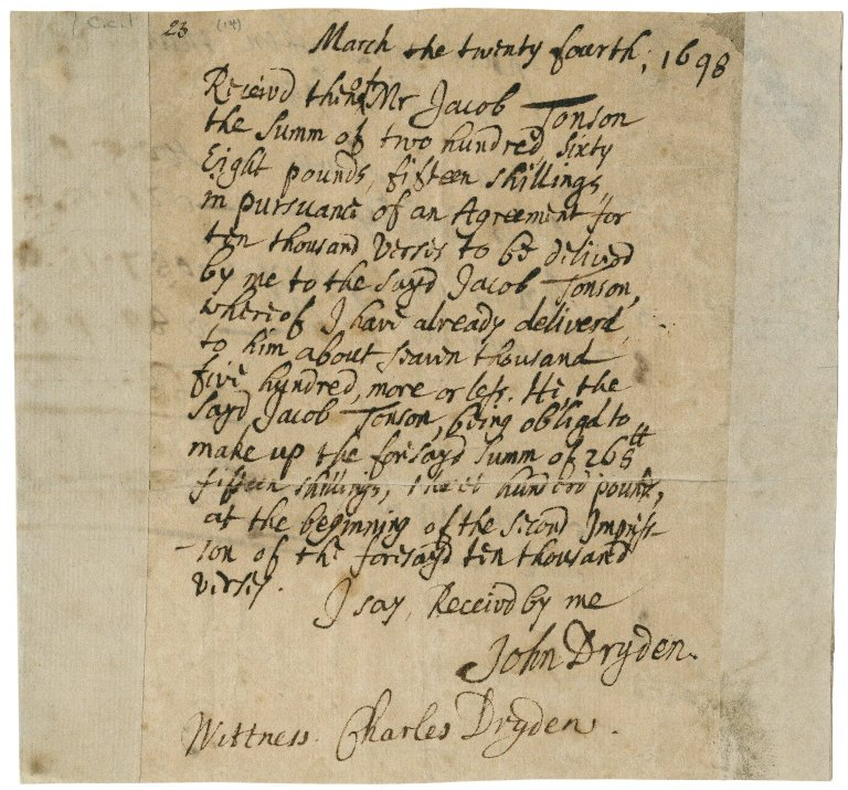 Receipt from John Dryden to Jacob Tonson I : autograph manuscript signed