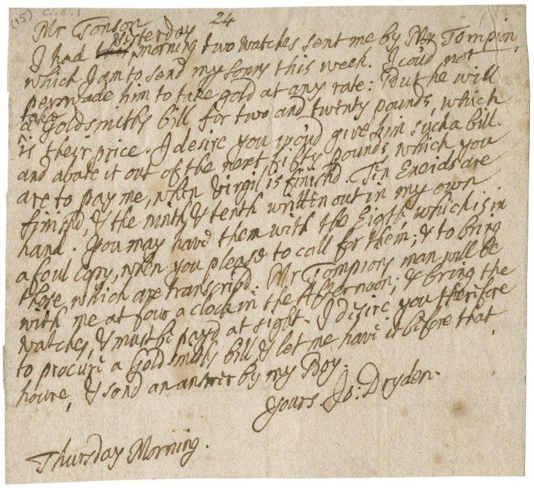 Letter from John Dryden to Jacob Tonson : autograph manuscript signed