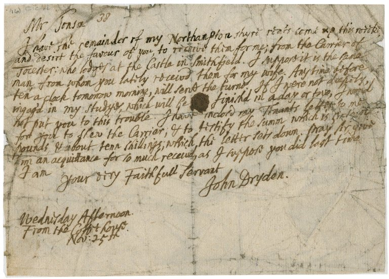 Letter from John Dryden to Jacob Tonson : autograph manuscript signed