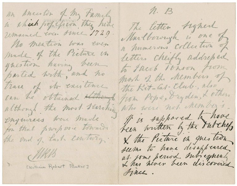 Note from William Robert Baker : autograph manuscript initialed
