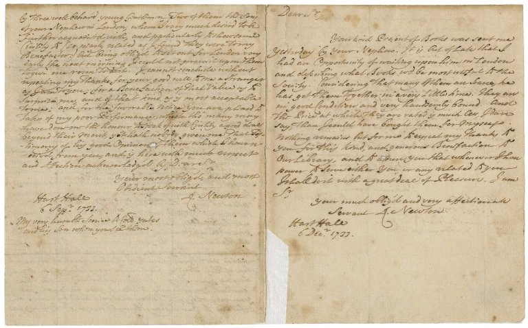 Letters from Richard Newton, Hart Hall, Oxford, to Jacob Tonson I : autograph manuscript signed
