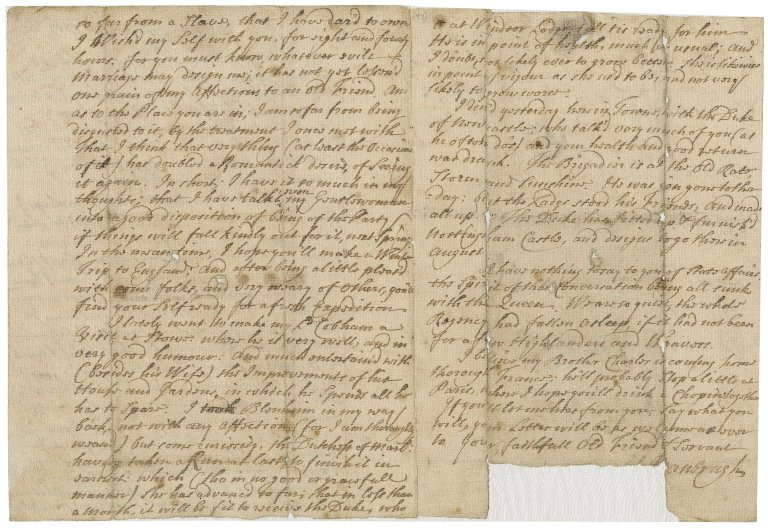Letter from Sir John Vanbrugh, London, to Jacob Tonson I, Paris : autograph manuscript