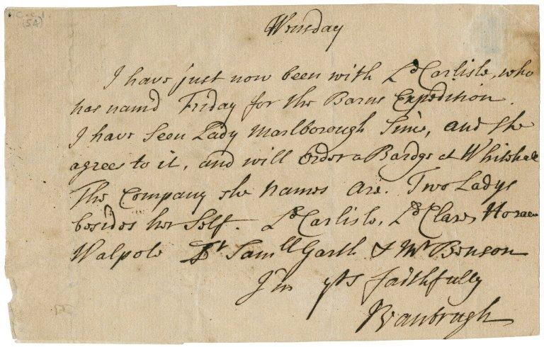 Letter from Sir John Vanbrugh to Jacob Tonson I : autograph manuscript signed