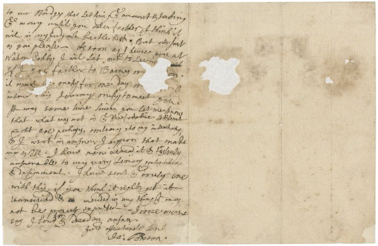 Letter from Jacob Tonson I to Jacob Tonson II : autograph manuscript signed