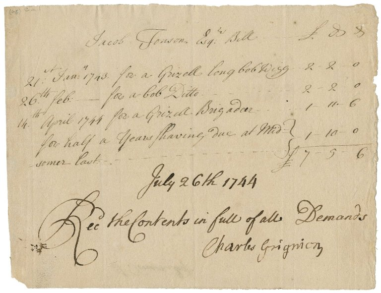 Bill from Charles Grignion to Jacob Tonson III : manuscript