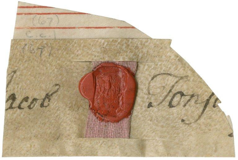 Seal and fragment of signature of Jacob Tonson : manuscript fragment