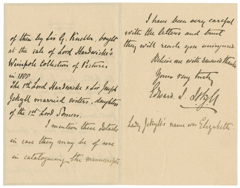 Letter from Edward J. Jekyll to William Clinton Baker : autograph manuscript signed
