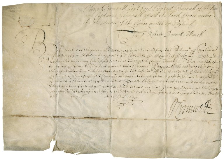 Commission signed by Oliver Cromwell, appointing Robert Bennet colonel of a regiment of foot