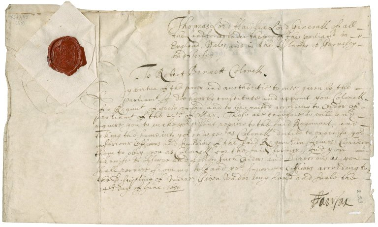 Commission signed by Lord Fairfax, appointing Robert Bennet colonel of a regiment of foot