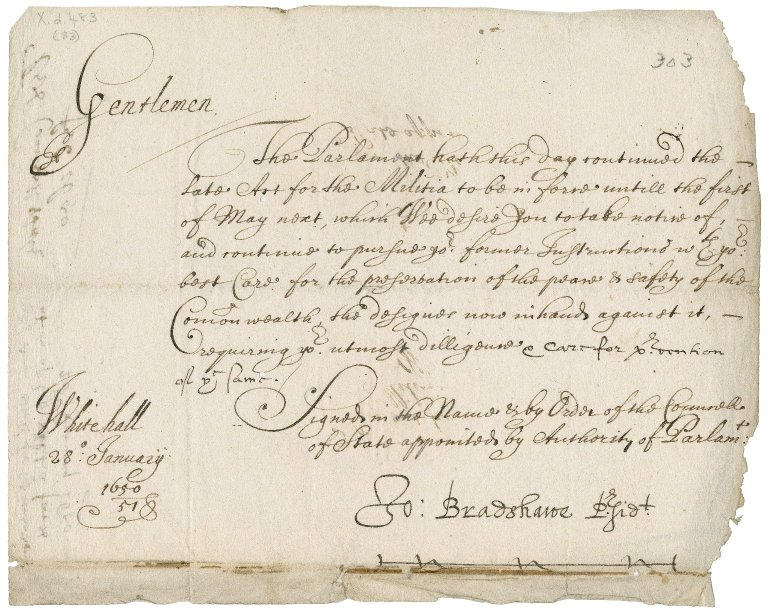 Letter from the Council of State to the Commissioners of the militia for the county of Cornwall