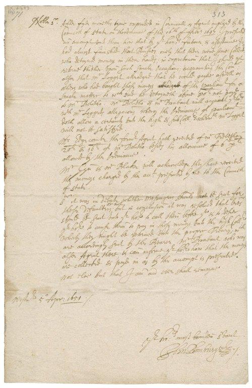 Letter from John Bunbury, Westminster, to Colonel Robert Bennet