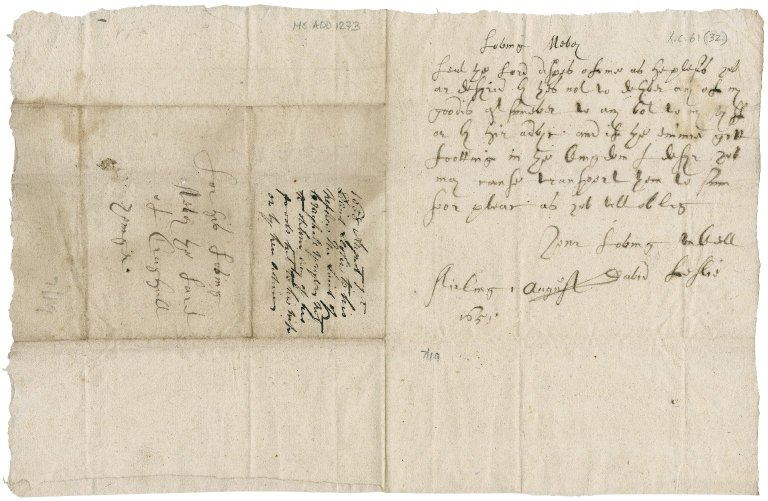 Letter from David Leslie, Lord Newark to Patrick Rattray of Craighall, Stirling