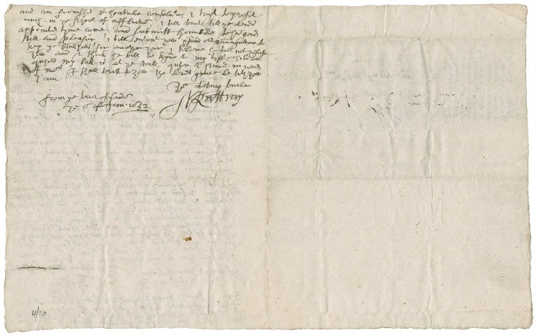 Letter from John Rattray, minister of Alyth, to Patrick Rattray of Craighall, Tower of London