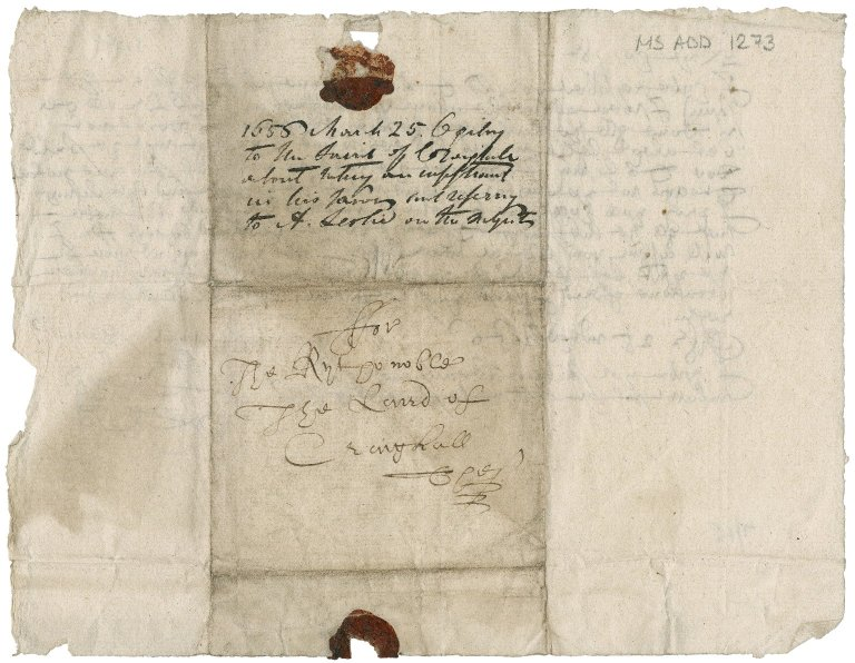Letter from John Ogilvy to Patrick Rattray of Craighall, Edinburgh