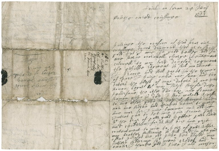 Letter from de Rattray to Patrick Rattray of Craighall (his cousin), Toul in Lorraine