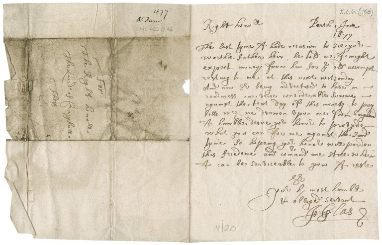 Letter from John Glas to James Rattray of Craighall, Perth