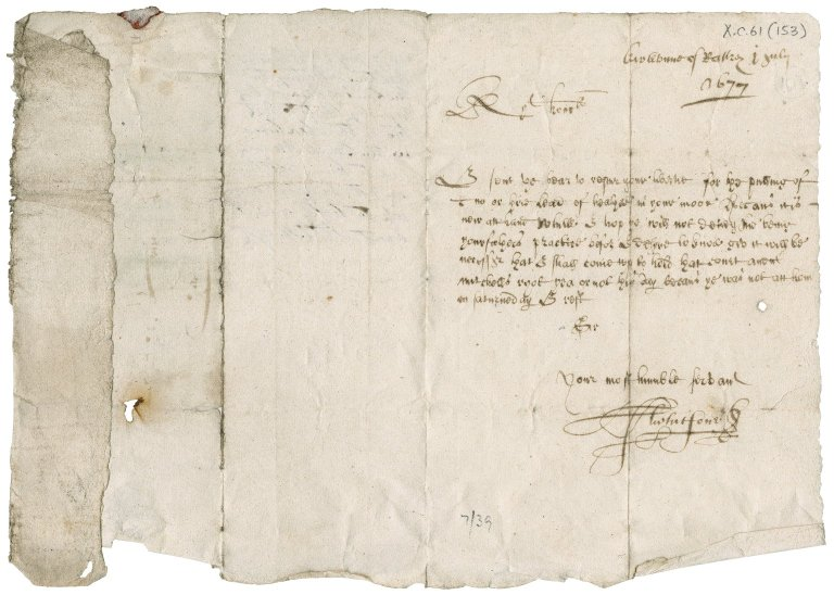 Letter from Alexander Whitson to James Rattray of Craighall, Kirktown of Rattray
