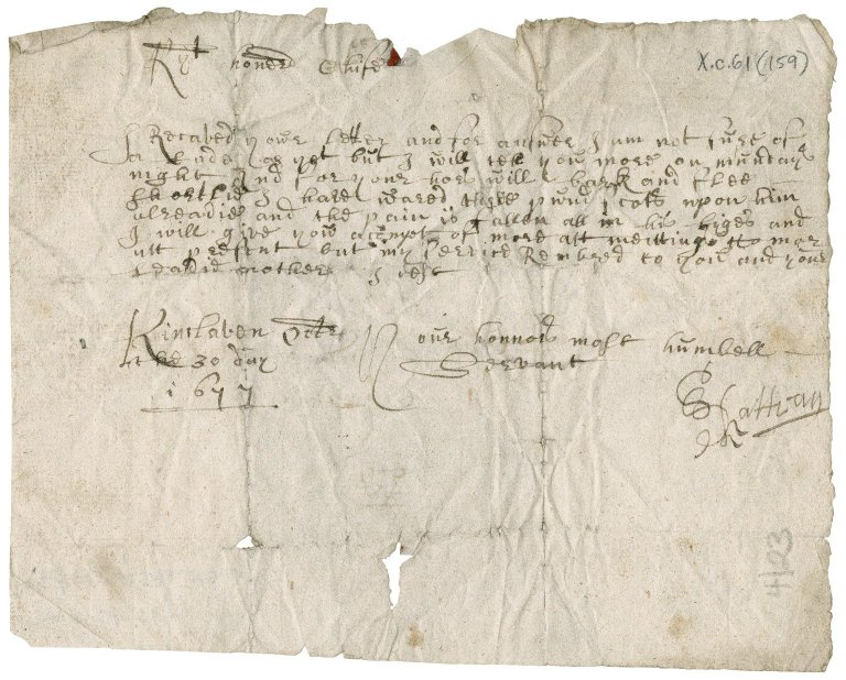 Letter from Rattray to James Rattray of Craighall, Kinclaven