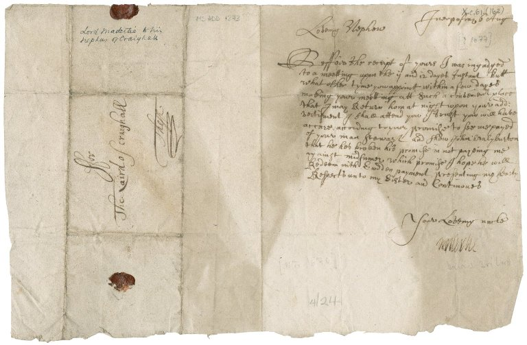 Letter from David Drummond, 3rd Lord Maderty to James Rattray of Craighall, Innerpeffray