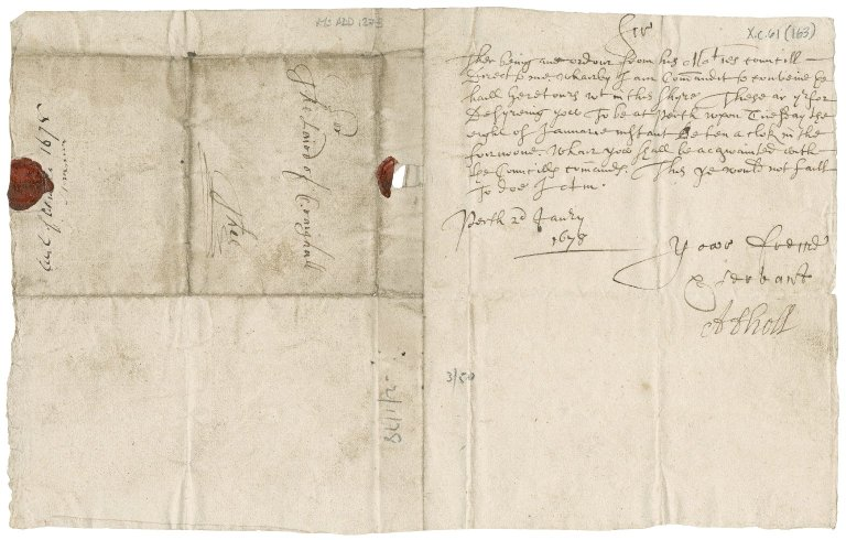 Letter from Marquess of Atholl to James Rattray of Craighall, Perth