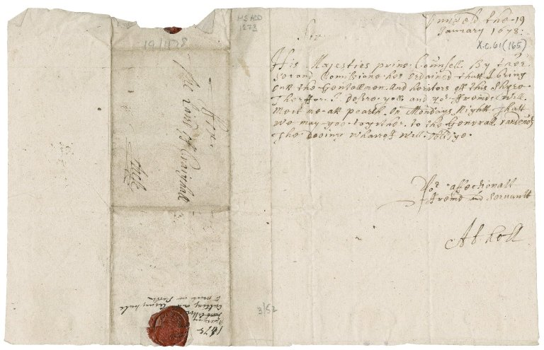 Letter from John Murray, Marquess of Atholl, to James Rattray of Craighall, Dunkeld