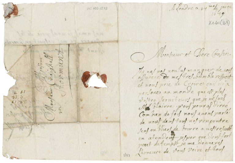 Letter from G. Rattray to James Rattray of Craighall (cousin), London
