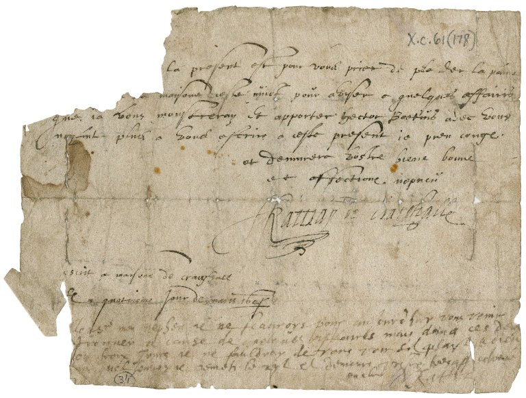 Letter from Sylvester Rattray of Craighall to his uncle Rattray of Innerquick
